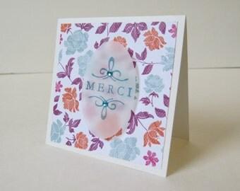 """Set of Thanks or merci Mini Card """"Flower Garden"""" (4)"""
