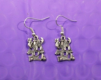 Haunted House Dangle Earrings Silver Charm Halloween Handmade Drop Earrings Fashion Jewelry For Her