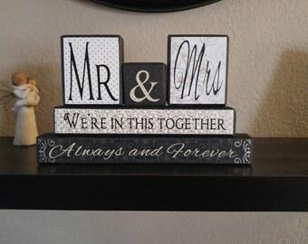 Mr&Mrs Wood Block Decor Set