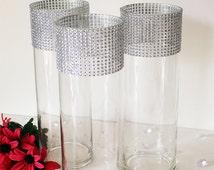 "Tall Wedding Vases 12"" (Set of 10) Bling Centerpieces-Wedding Table Centerpieces, Floral Centerpieces, Wedding Reception Decor, Flower Vases"