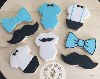 Mustache Baby Shower Cookies