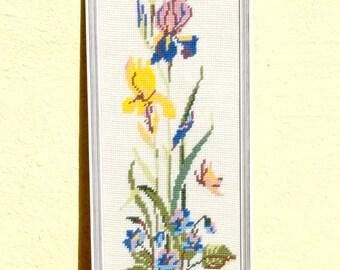 Framed Needlepoin, Floral Needlepoint, Collectibles, Floral Wall Decor, Wall Decor, Homedecor, Framed Art, Denmark