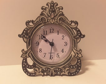 Ornate silver tone desk/nightstand clock