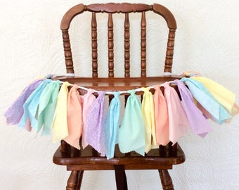 Pastel rainbow garland, pastel rainbow high chair garland