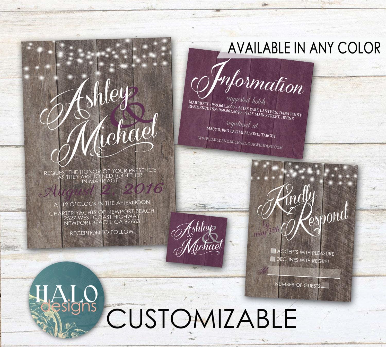 Rustic Wedding Invitations: Purple Rustic Wedding Invitations Plum By HALOdesignsSHOP