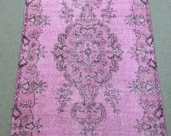 Pink over dye area rug , 4 X 7 area rug, 4 X 7 pink rug , pink rug, rug with pink colors, 120 X 200 cm pink rug