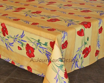 French Provence POPPY LAVENDER YELLOW Rectangle Tablecloths - French Oilcloth Indoor Outdoor Coated Tablecloth - Matching napkins available