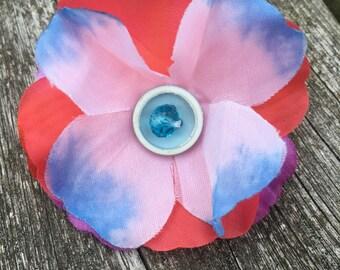 Flower brooch fabric beads buttons summer festival jewellery
