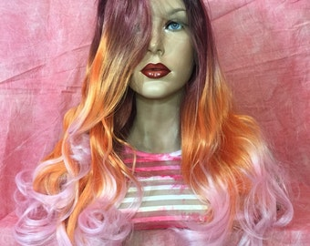 SALE Pink Orange Purple Wig 14""