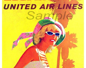 Vintage Los Angeles United Airlines Poster Print