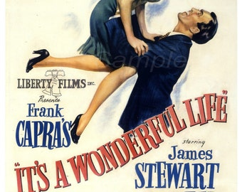 Vintage It's a Wonderful Life Frank Capra's Movie Poster Print