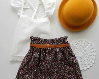 Girls Size 4 Paper bag Skirt, High waisted Skirt, Paperbag, Floral Skirt