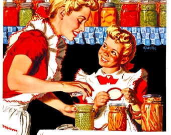 We'll Have Lots to Eat this Winter, Won't We Mother? Grow Your Own, Can Your Own Vintage Poster Reproduction World War II