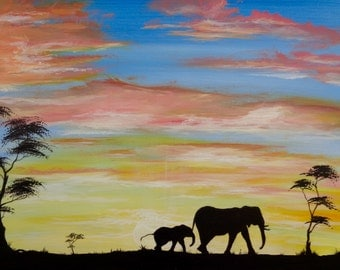 Elephant digital print Original painting African sunset instant download acrylic art pink yellow sunrise animal silhouette