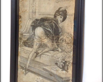 Aged Reproduction Victorian Erotica print in frame.