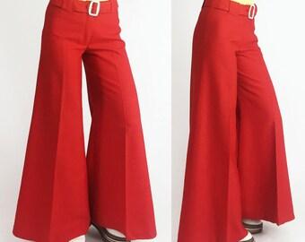 1970's Red Belted Oversized Wideleg Bellbottom Pants