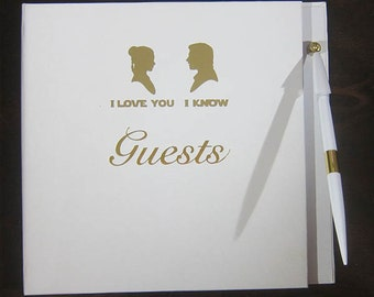 Star Wars white Wedding Guest Book with attached pen STARWARS