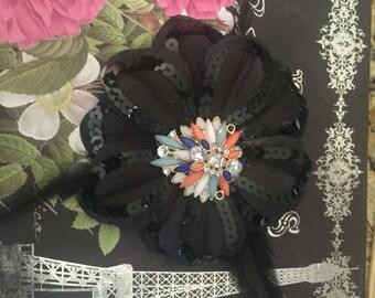 Sale Beautiful tribal belly dance flower on black