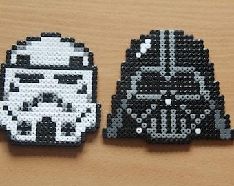 Star Wars Inspired Hama Art - Darth Vader or Storm Trooper Heads