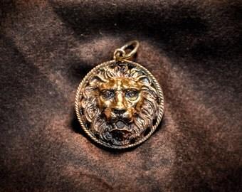 Lion head pendant,Lion necklace,Rastafari lion,King lion,Lion king jewelry,Lion jewelry,Antiqued Brass Locket Round Locket Lion Head,