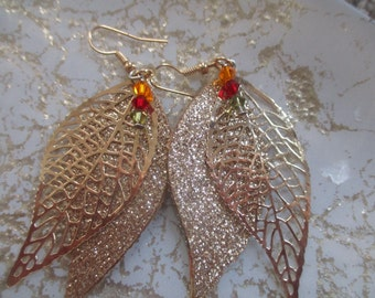 Oak Leaf Earrings Glittery Gold Leaf Earrings Falling Leaves Jewelry Fall Earrings Stunning Gold Leaves in Autumn