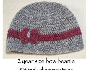 Crochet bow beanie
