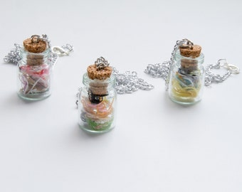 Thread in a Bottle Necklace/Ornaments, Round Bottle, Jewelry