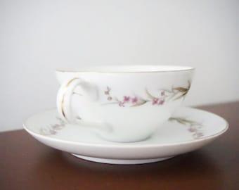 White Tea Cups - Tea cup and saucer sets - Vintage China Set - Teacup favors - Fine China Tea Set - Vintage China Tea Set