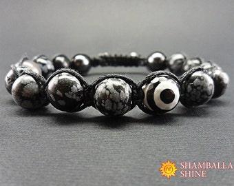 Obsidian men bracelet Black gray bracelet Protection gemstone Harmony energy Gemstone men bracelet Men amulet Obsidian natural beads