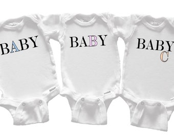 BABY A, B, C (front) #FirstName (back) *Customized* Color font choices. Here are fun onesies & tees that have Baby A,B,C for Triplets!