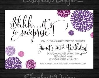 Surprise Birthday Invitation, purple & magenta, handwritten font, 30th, 40th, 50th, 60th, adult, custom invite, digital file, you print