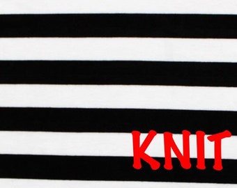 Black and White Stripes Knit Fabric