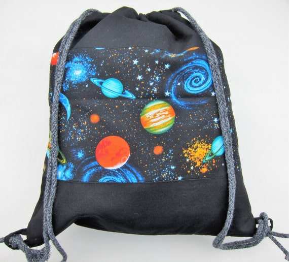 Outer space themed 13 x 14 drawstring backpack for Outer space themed fabric