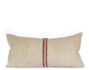 Pink & Black Grain Sack Stripe 10x20 Lumbar Pillow