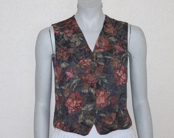 Women's Vest Vintage Vest Romantic Vest Womens Vest Formal Floral Flower Tapestry Waistcoat Renaissance Steampunk Edwardian Victorian Medium