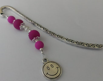 Happy smiley face in purple - beaded bookmark