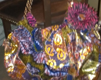 """Metallic, African Print """"4-Squares"""" Slouch Bag"""