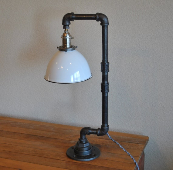 Edison Lamp Rustic Decor Unique Table Lamp Industrial: Items Similar To Industrial Pipe Desk Lamp With White