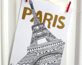 Paris Eiffel Tower Print Black and Metallic Gold 5x7 or 8x10