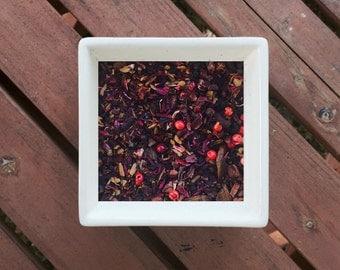 Wine of Dracule - Organic Loose Leaf Herbal Tea, Hibiscus, Rosehips, Vanilla Rooibos, Cinnamon, Elderberry, Cacao, Pink Peppercorn, Cinnamon