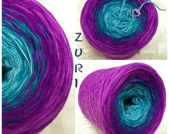 Color gradient yarn * zuri *, 3 threads, 4 colors, LL 600, aqua teal purple lilac