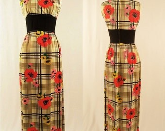 1960's Vibrant Floral and Stripe Sleeveless Dress with Deep Side Slit/ Full Length Dress/Size Small