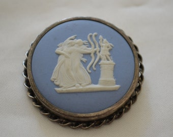 Silver and Blue wedgwood Classical Brooch