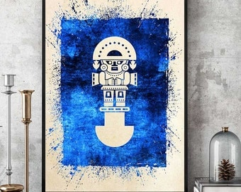 Inca Totem Print, Inca Symbol Art, Amerindian Wall Art, Spiritual Wall Decor, Native Wall Art, Watercolor Home Decor (N505)