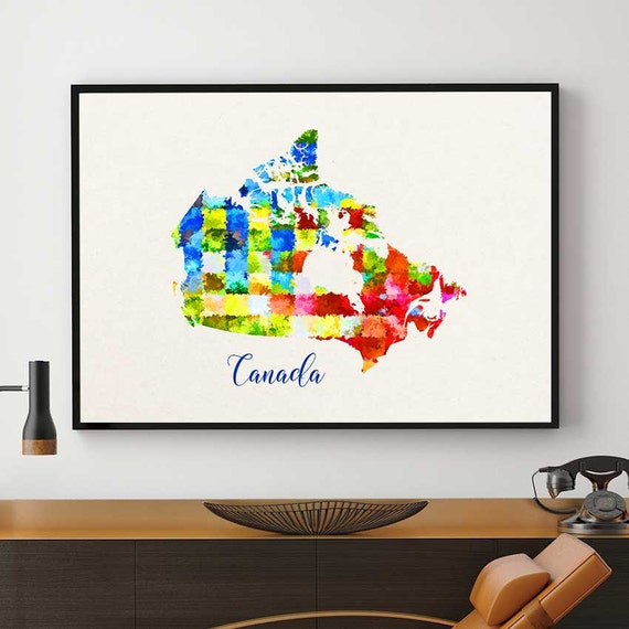 Canada map print canadian wall art canada nursery decor for Home decor online canada