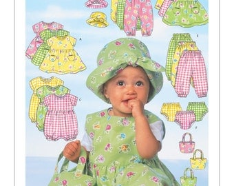 Sewing Pattern for Infants' Dress, Jumper, Romper, Jumpsuit, Panties, Hat and Bag, Butterick Pattern 5624, Baby Summer Wardrobe