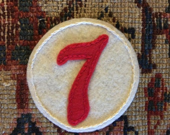 Lucky Seven Circle Felt Patch Iron On - Free shipping