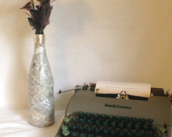 Newspaper Recycled Glass Bottle Vase
