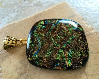 Large fused glass pendant dichroic Glass