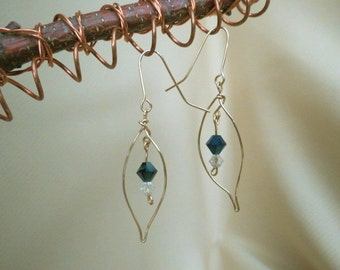 14k Gold Filled Wire/Crystals/Blue Swarovski Beaded Earrings